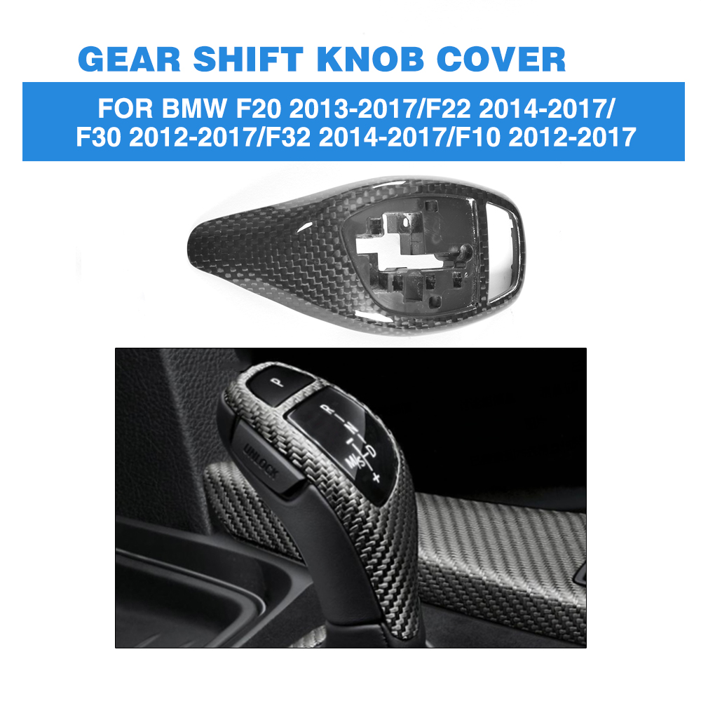 Gear Shift Knob Interior Decorative Cover DRY Carbon Fiber Trim For BMW 1 2 3 4 5 Series F20 F22 F30 F32 F10 2012-2017 fit for toyota camry 2018 carbon fiber style interior gear shift knob cover trim interior mouldings interior accessories