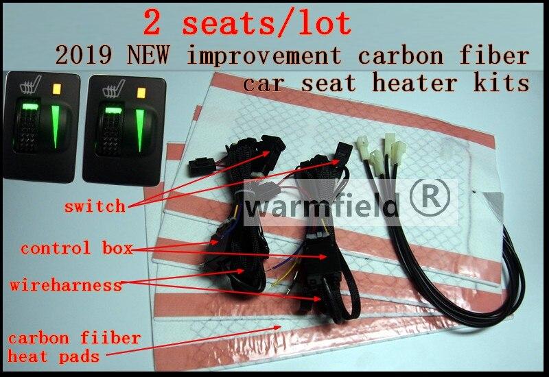 2 pcs lot 12V carbon fiber car seat heater for Toyato prado Camry REIZ Highland Carola
