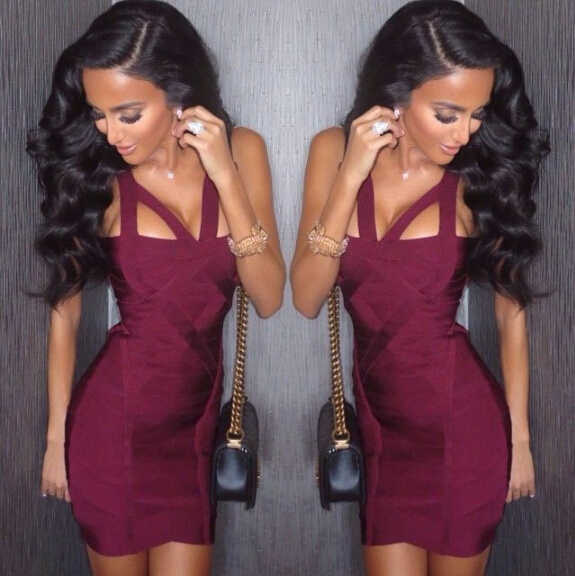 Women's Sexy V Neck Thick Wine Bandage Dress 2016 Knitted Designer Mini Bodycon Bandage Dress