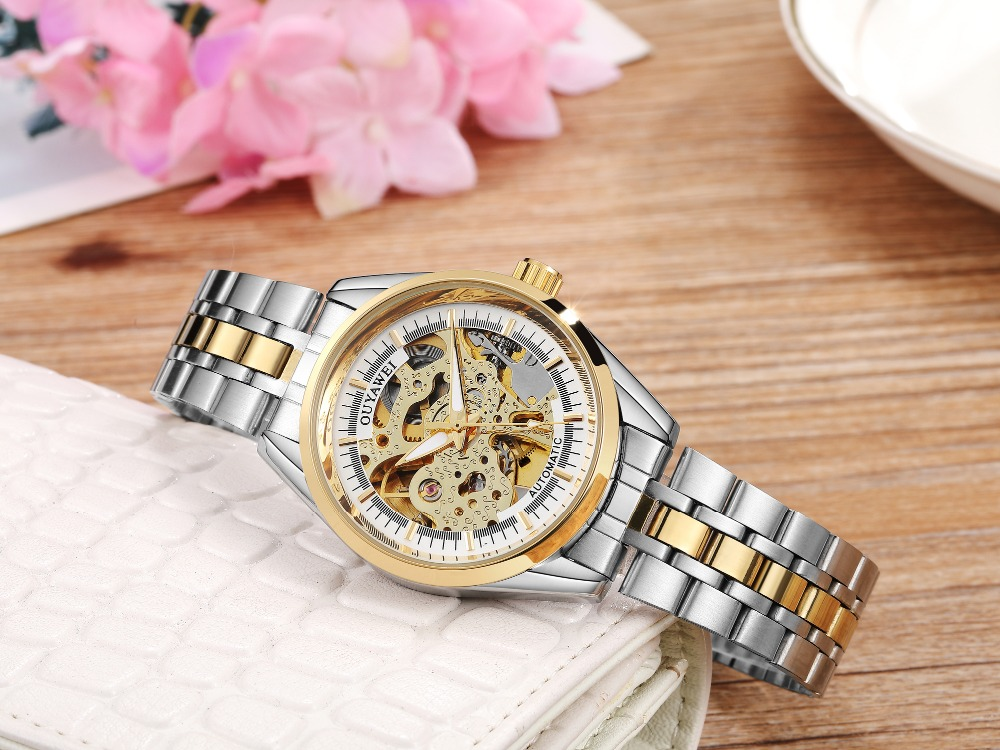 2019 Fashion Couple Watches OUYAWEI Luxury Steel Band Automatic Mechanical Skeleton Ladies Wristwatch Steel Strap Watch Gift Hot