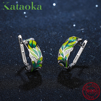 Full of nature breath green plant leaves for women Authentic 925 Sterling Silver charms Fashion Enamel Stud Earrings for women