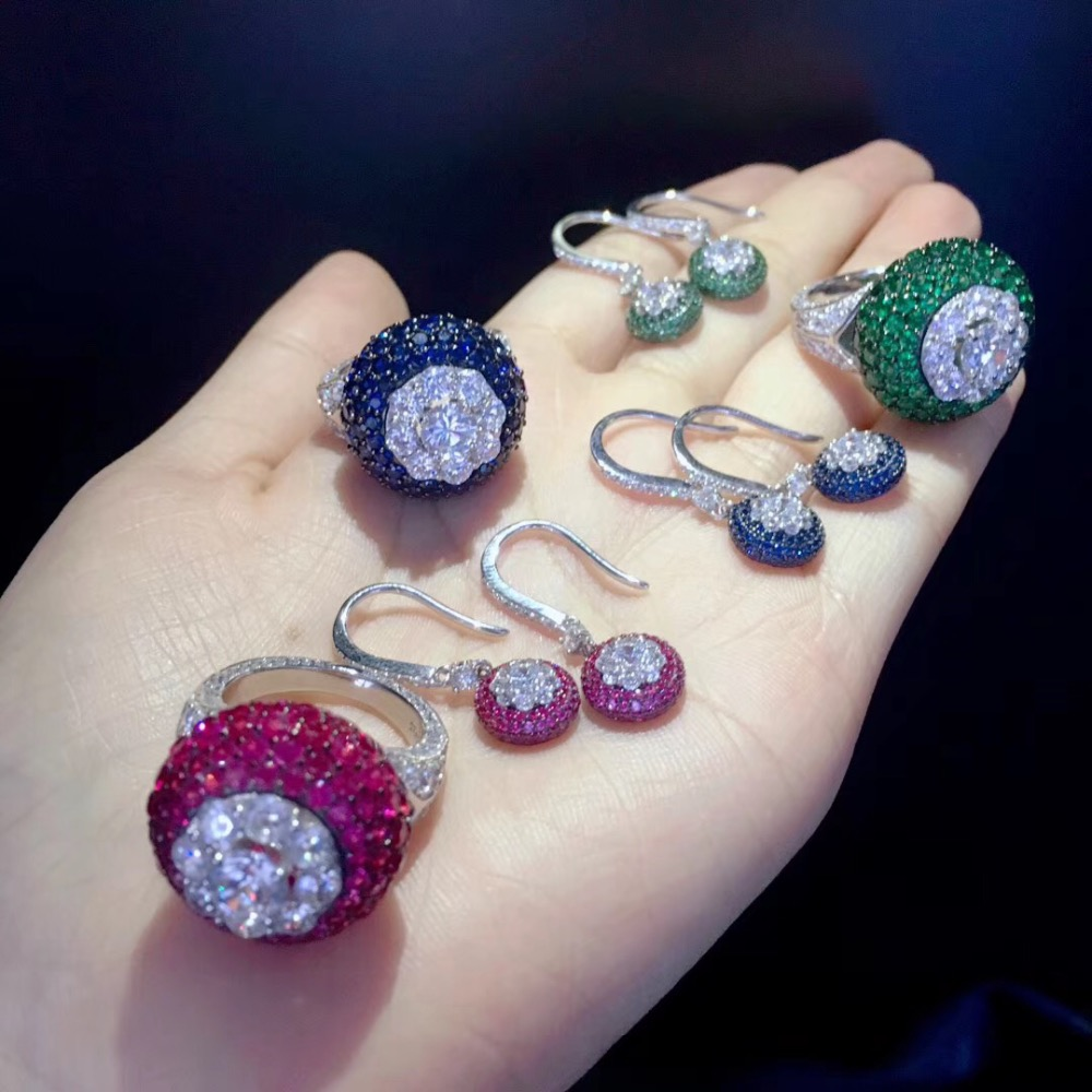fine jewelry set ring and hook earring 925 sterling silver  blue green rose red color free shipping