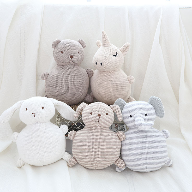 Baby Pillow With Bell Bear Plush Toy For Kids Room Decor Knitted Animals Stuffed Toys For Newborns Christmas Birthday Gifts