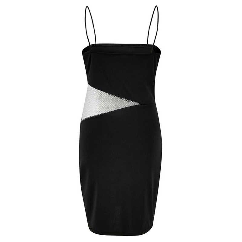 Сексуальное женское платье-комбинация, Сетчатое платье с вырезами, на бретельках, без рукавов, военные алюминиевые тонкие облегающие однотонные мини-платья 2019