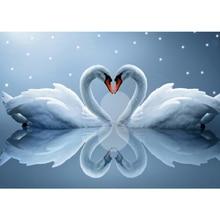 Мозаика из бриллиантов 5D DIY Алмазная вышивка наборы вышивки крестом картины по номерам настенные наклейки Два лебедя Любовь Цветы