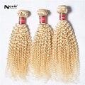 Irina produtos para o cabelo brasileiro cabelo encaracolado kinky virgem encaracolado cabelo brasileiro loira 3 pcs lote 8 - 32 polegada cabelo crespo afro crespo tece