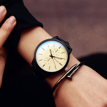 Blue Glass Mirror Big Dial Black White Leather Casual Simple Quartz Couples Watch