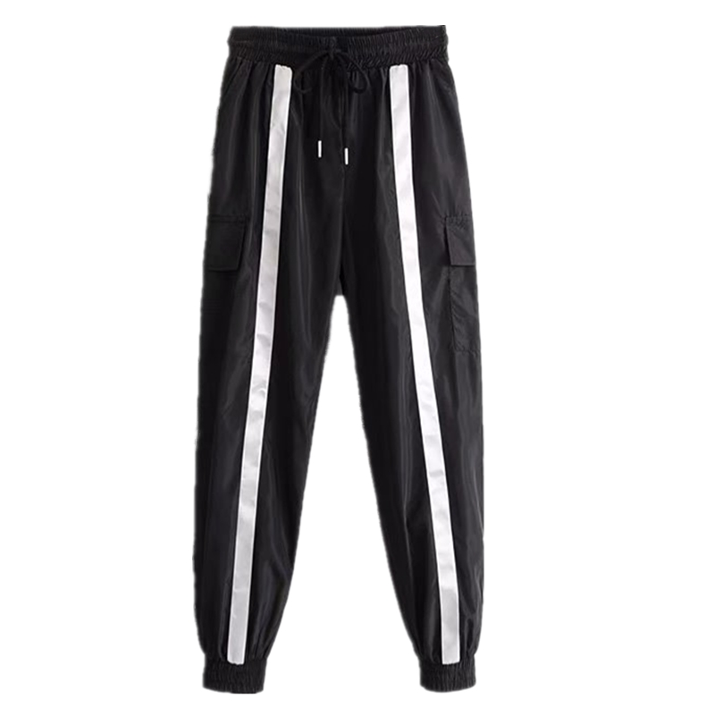 Streetwear Cargo   Pants   Women Korean Style Ladies   Pants     Capri   Black Reflective   Pant   Casual High Waist Loose Female Trousers