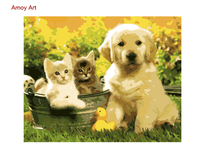 DIY Framless Pictures Paint By Numbers Animal Digital Oil Painting On Canvas Unique Gifts Cats And