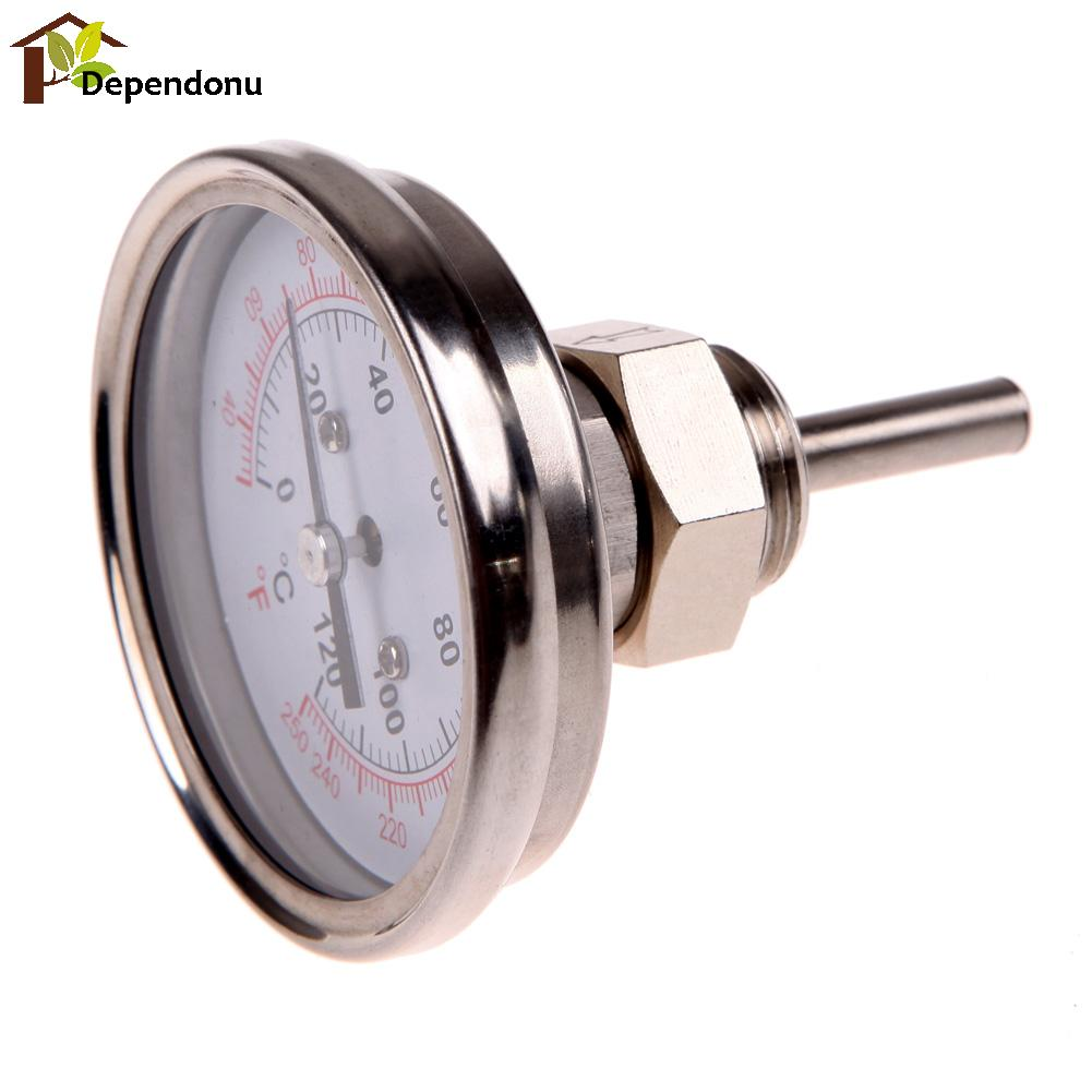 1/2 Stainless Steel Thermometer Dial Temperature Gauge For Moonshine Still Condenser Brew Mash Tun Kitchen Food Thermometer 1 2stainless steel thermometer dial temperature gauge for moonshine still condenser brew mash tun kitchen food thermometer