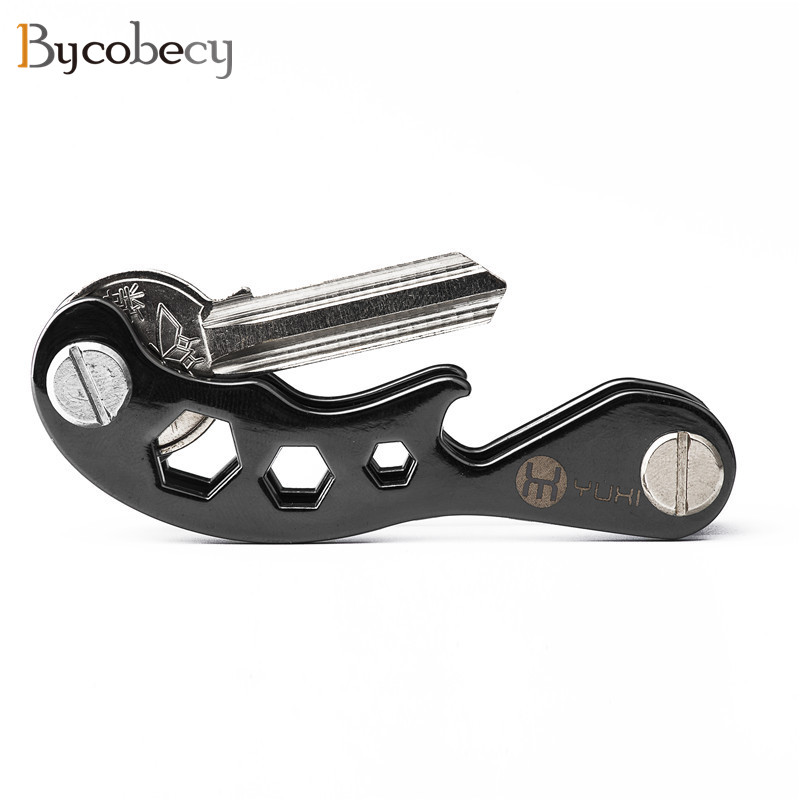 BYCOBECY Aluminum Metallic EDC Key Wallets Men Key Holder Smart Housekeeper New Design Keys Organizer Key Chain Bottle Opener cute small house lizard bottle opener key chain random one