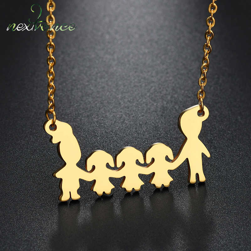 Nextvance Three Girls Father Mother Pendant Necklace Five Figure 20inch Adjust Chain Necklaces for Parent Daughter Gift Colar