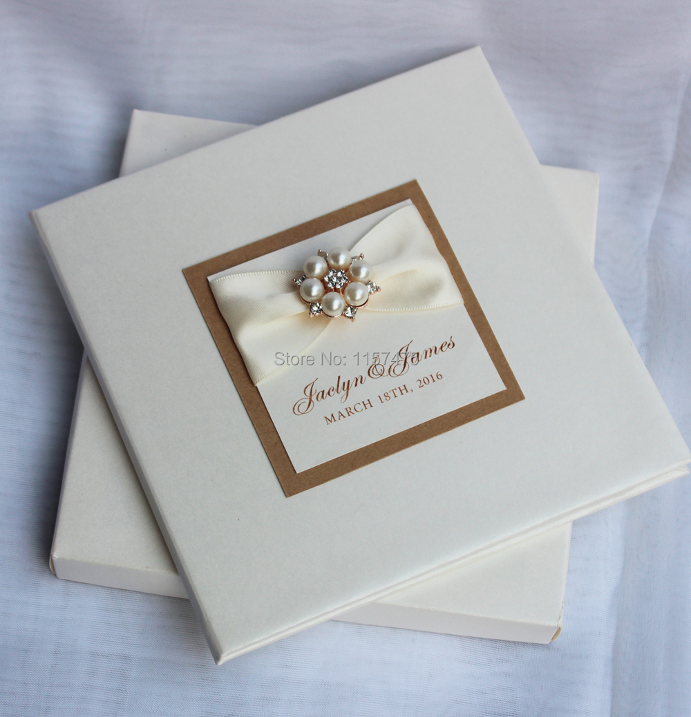 HI1079 Customized Luxurious Hard Cover Wedding Invitation Card Made ...