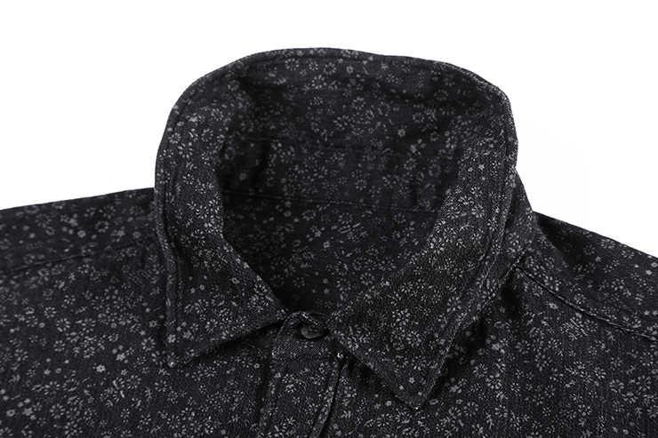 Черная джинсовая рубашка Для мужчин брендовые Длинные рукава стенд воротник Для мужчин рубашка с цветочным узором печати случайные slim fit camisa социальной masculina S2002