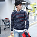 Autumn Winter Striped Sweater Men Casual Round Neck Comfortably Warm Striped Pullover Knitted Christmas Sweater Men Style