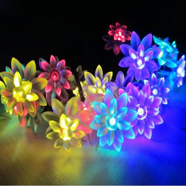 20LED Solar 4.8 Metros lâmpada Lotus Flower Led Chrismas Casamento Romântico Decoração Do Natal Corda Luzes NewYear