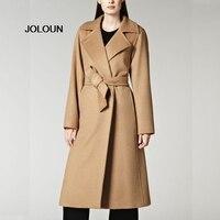 New Camel Wool Cashmere Coat Lapel Belt Slim Long Womens Parka Coats Trench Elegant Damen Mantel Invierno Mujer Cappotti Donna