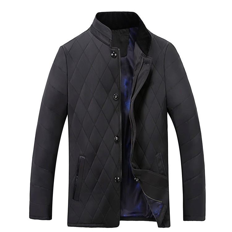 Brand Clothing Mens Solid Casual Parkas Fashion Cotton Banded Collar Winter Jacket Men Padded Overcoat Outerwear