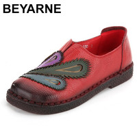 BEYARNE Ladies Shoes Women Genuine Leather Mixed Colors Flats Folk Style Handmade Shoes Soft Bottom Casual