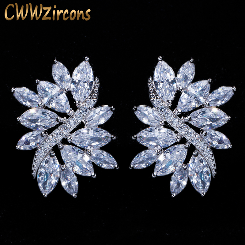 CWWZircons 2018 New Fashion Silver Silver Big Cubic Zirconia Ice Flower Stud Ականջօղեր կանանց զարդերի նվեր CZ115