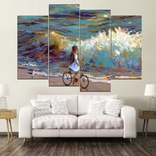 Sea Shore Cyclist Child Abstract Art Oil Painting 4 Piece Style Picture High Quality Canvas Print Type Decor Wall Artwork Poster