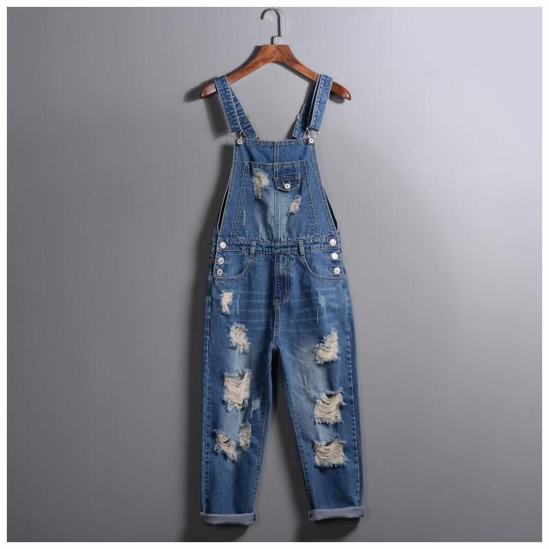 2017 spring Summer Fashion Brand Male Ripped denim jumpsuit Mens slim hole jean overalls Casual bib jeans for men 010801  2016 spring autumn fashion brand mens slim jeane overalls casual bib jeans for men male ripped denim jumpsuit