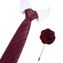 New Design Silk Mens Ties Neck 7.5cm Plaid&Dot for Men Formal Business Wedding Party Tie And Brooch Set