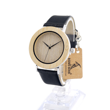 Uique Bamboo Wooden Watch Men's Quartz Watches Causal Sport Dress Stainless Steel Wristwatch with Black Leather Watches