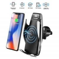 Qi carregador de carro sem fio para iphone xs max xr x samsung s10 s9 note9 infravermelho inteligente rápido carregamento sem fio telefone titular do carro