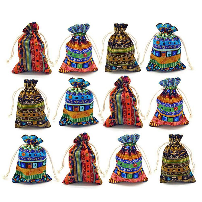 12pc Egyptian Style Jewelry Coin Pouch Print Drawstring Gift Bag Cotton Sachet Candy Travel Purse Ethnic
