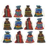 12pc Style égyptien bijoux pièce pochette imprimer cordon cadeau sac coton Sachet bonbons voyage sac à main ethnique