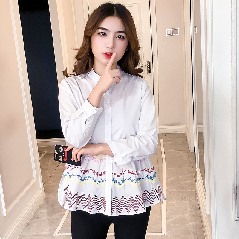 Ruffle Blouse Women 2019 Spring Summer Korean Fashion Cute Babydoll Embroidery Blouses White Peplum Ladies Tops Blouse Femme