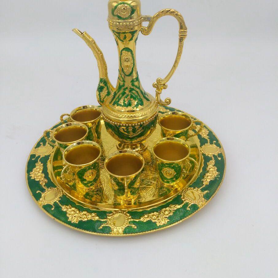 Or bleu/argent vert 8 pièces/ensemble antique cuivre vin ensemble vaisselle de table vin pot tasse plateau maison bar décoration JJ076