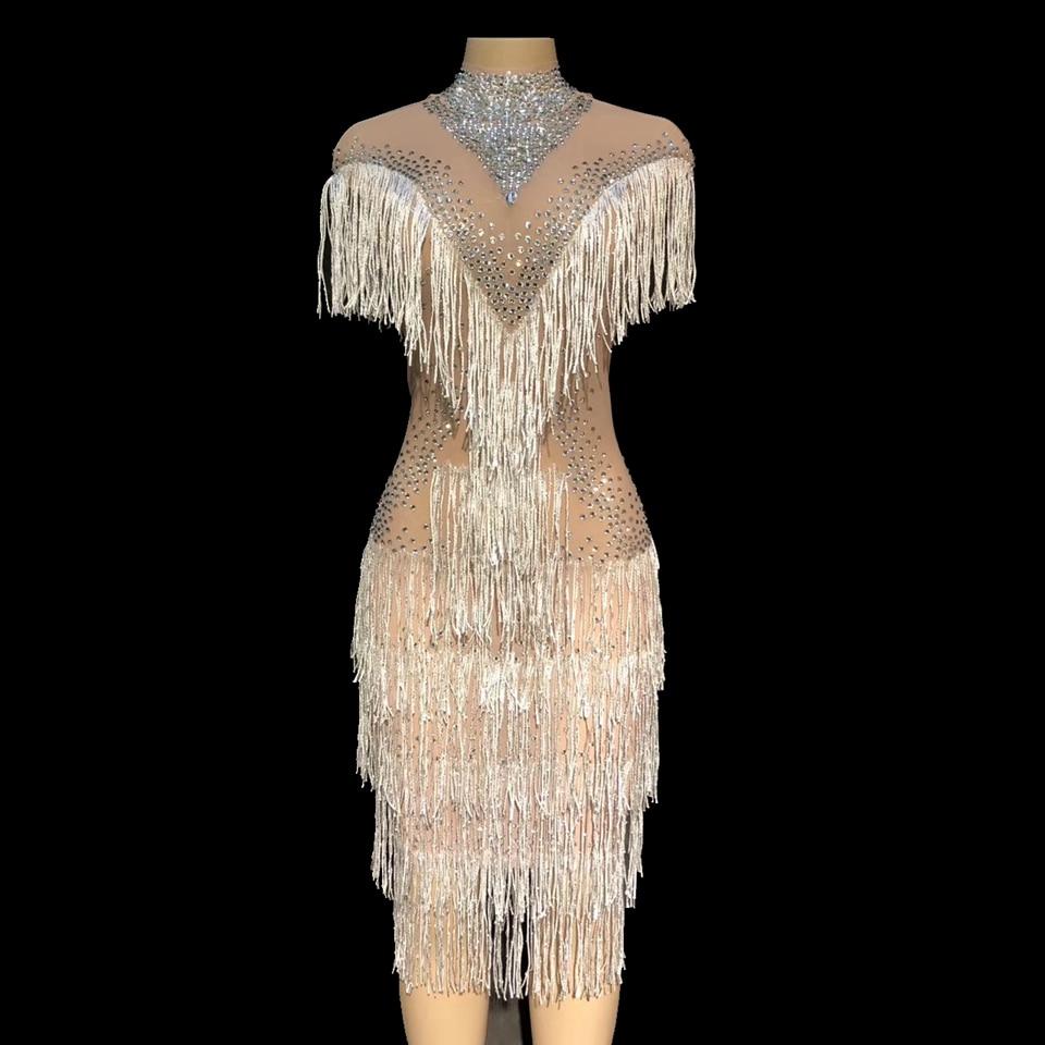 sparkly strass kristall quaste kleid frauen geburtstag feiern sehen durch  mesh party kleider fransen kostüm tanz kleid