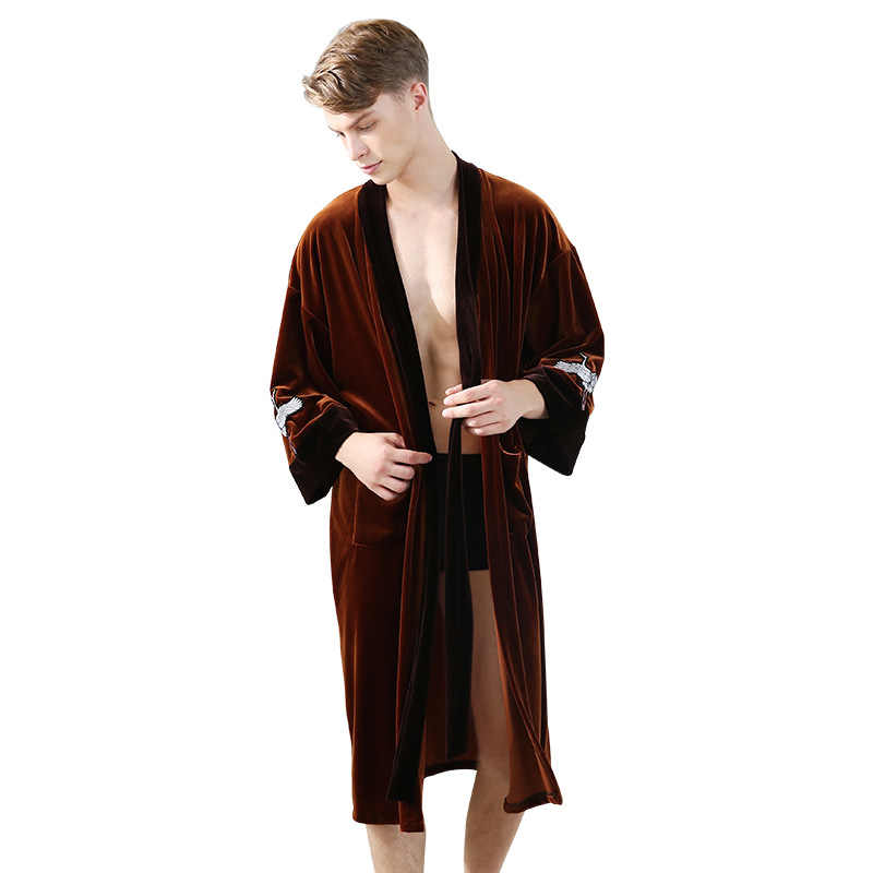 900e7eeb2d ... CherLemon Autumn Winter Long Sleeve Velvet Robe Couple Kimono Bathrobe  Sleepwear Women and Men Dressing Gown ...