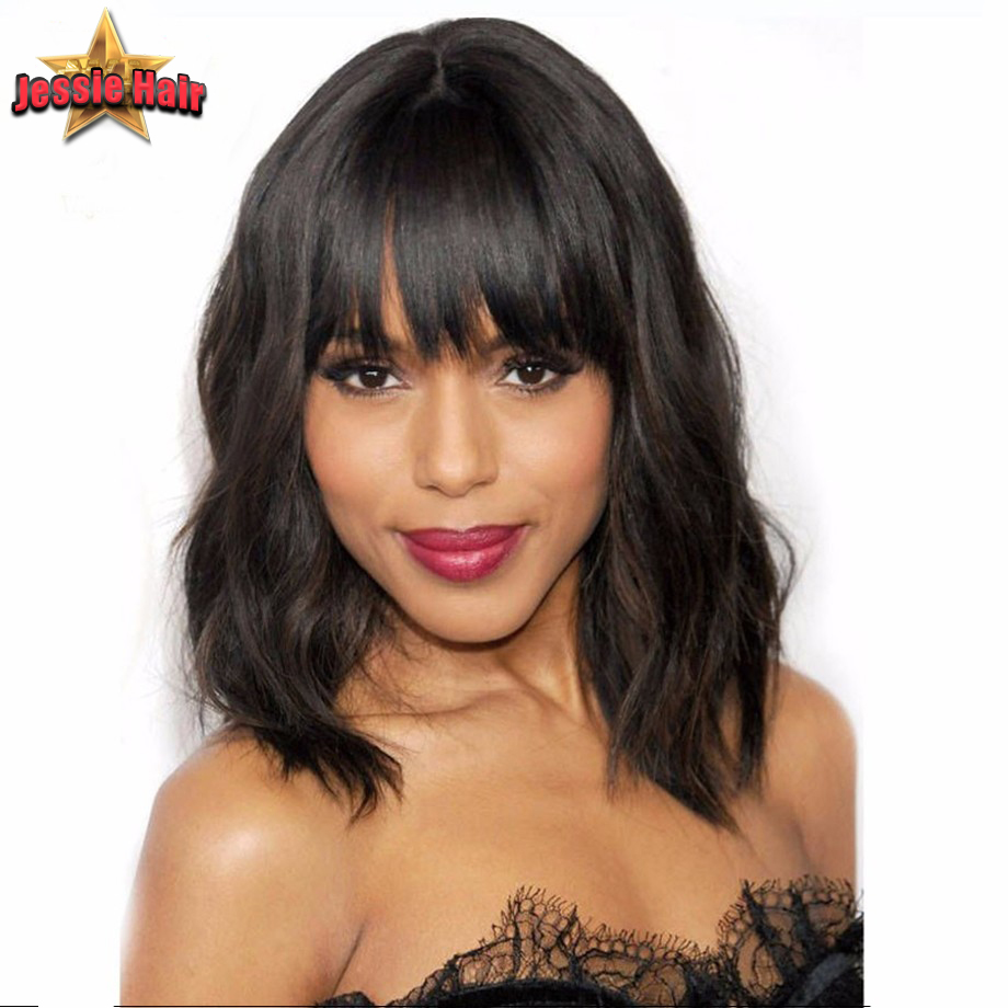 Natural wave brazilian virgin hair lace front wigs short bob human glueless full black women - Jessie Hair Products store