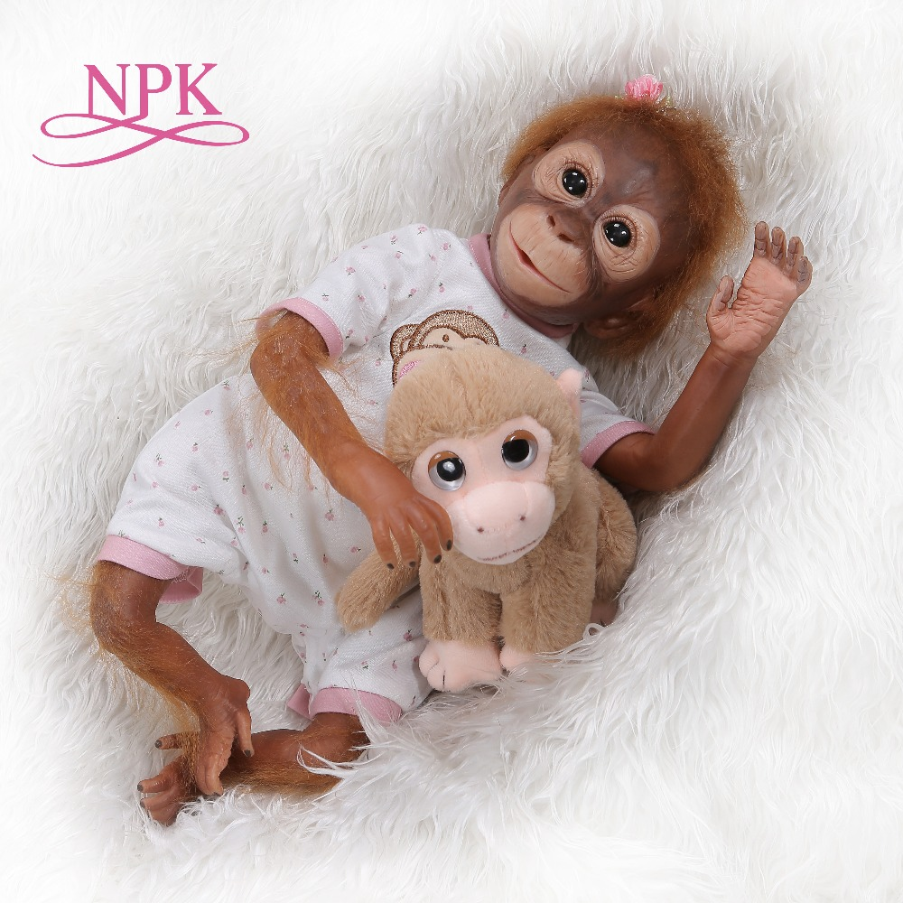 NPK 52CM handmade detailed paint reborn baby Monkey newborn baby doll collectible art high quality doll
