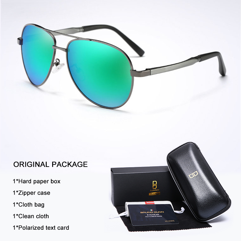 Bruno Dunn 2020 Aviation Men Sunglasses Polarized Sun Glases oculos de sol masculino aviador UV400 high quality  Sunglases 12