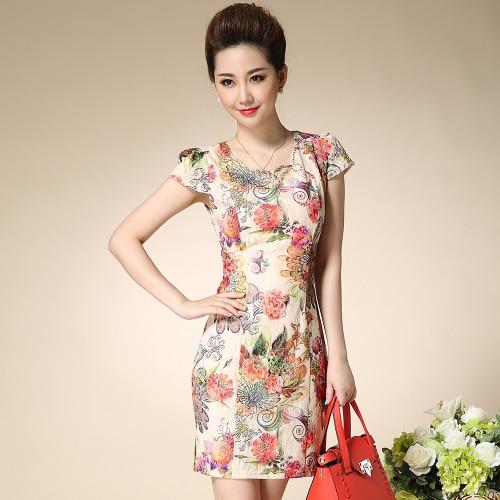 J42268 lace cheongsam dress retro elegant cheongsam dress spring and summer improved fashion slim mother dress