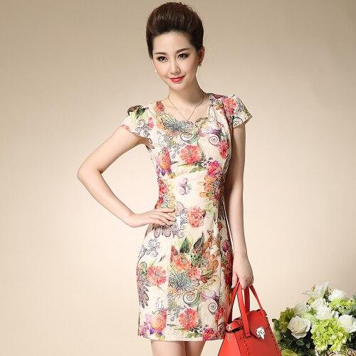 J42268 dentelle cheongsam robe rétro élégant cheongsam robe printemps et d'été améliorée de mode mince mère robe