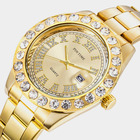 Dropshipping 2019 Mens Watches Top Brand Luxury Iced Out Watch Gold Diamond Watch for Men Quartz Waterproof Wristwatch