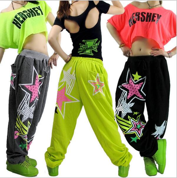 2017 Jazz fashion Young Girls Hip hop pants dance wear sweatpants ds costume loose casual female star print pants harem trousers