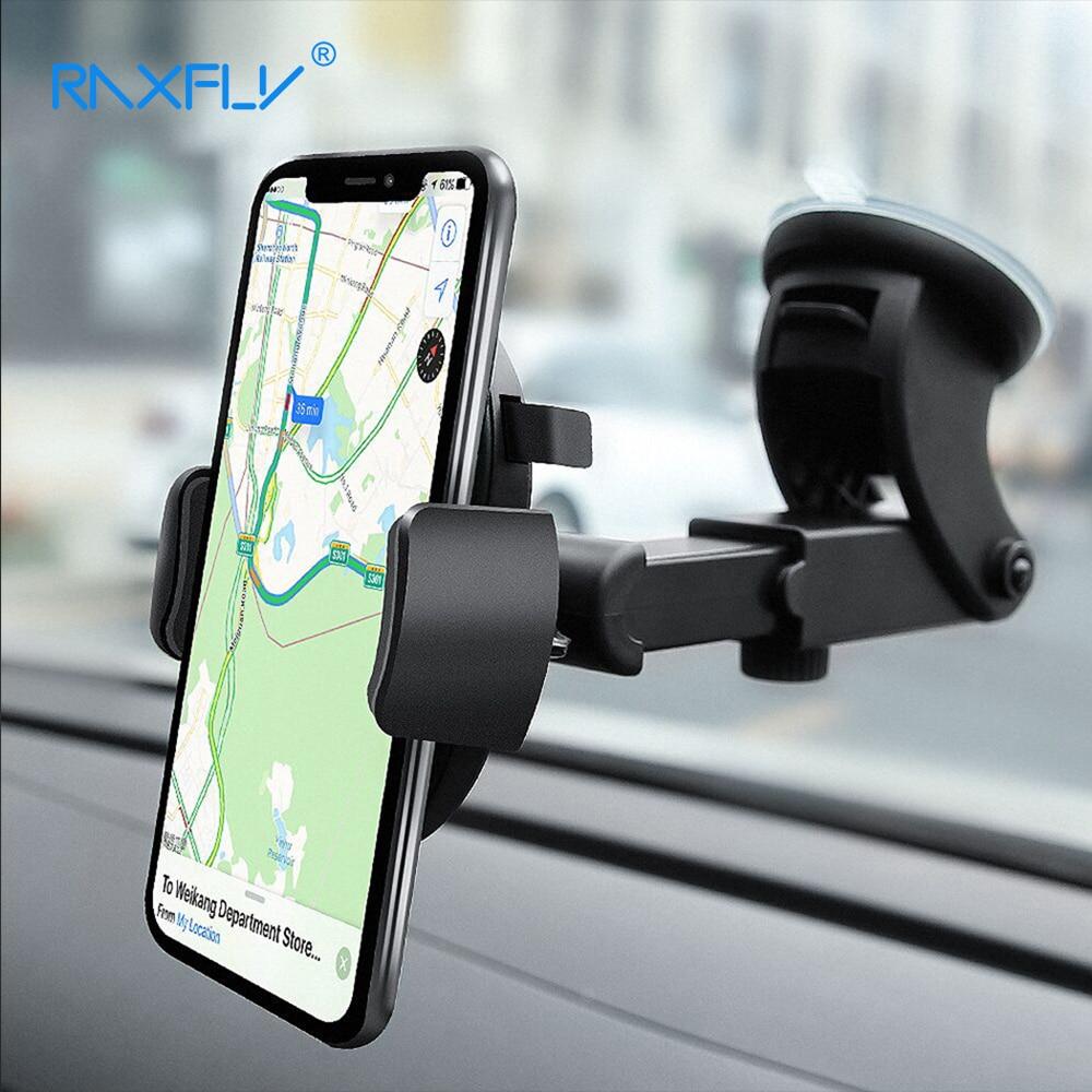 RAXFLY universal ajustable del teléfono del coche para el iPhone X 8 8 más 360 rotación parabrisas soporte teléfono soporte para Galaxy s9 S8