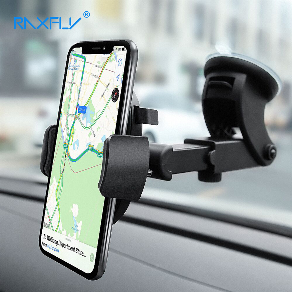 RAXFLY Universial Adjustable Car Phone Holder For iPhone X 8 8 Plus 360 Rotation Windshield Mount Phone Holder For Galaxy S9 S8