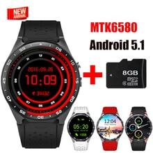Bluetooth tragbare gerät kw88 smart watch android 5.1 mtk6580 quad Core Unterstützung Sim-karte Smartwatch Für iOS Android PK Finow X5