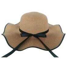 Kyncilor Sunshade Caps 2019 Womens Straw Braided hats Flat Top Black Ribbon Wave Beach Tourist Sunscreen Cap