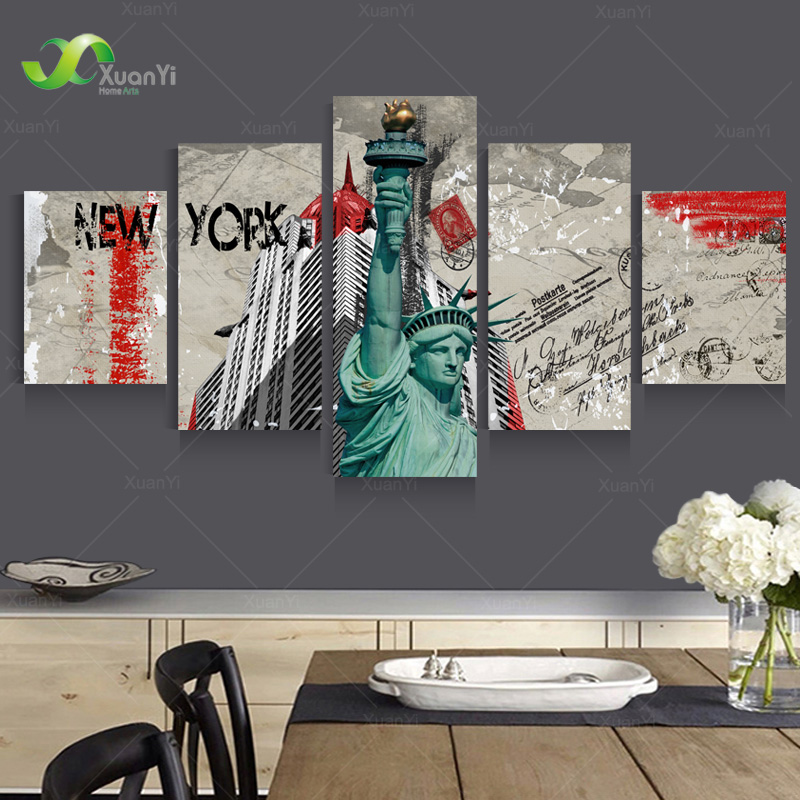 New York City Picture Canvas Painting Modern Wall Art: 5 Panel Wall Art Canvas Modern Abstract Oil Painting New