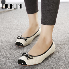 цена на Plus Size 35-41 PU Ladies Flat Shoes Shallow Bow-knot Solid Women Sandals Casual Women NIUFUNI 2019 Bottom Feminino Women Shoes