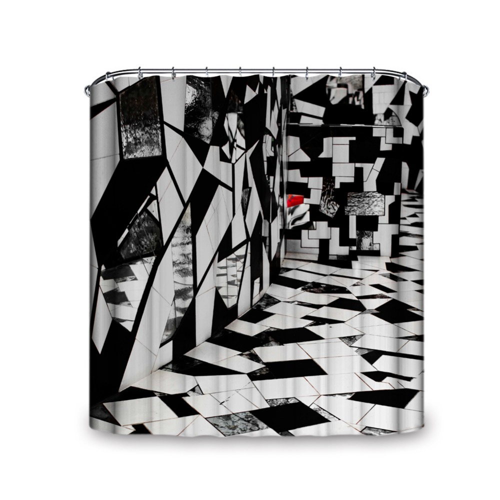 Black and white modern design waterproof and mould proof shower curtain artistic fashion decoration 100 waterproof fabric