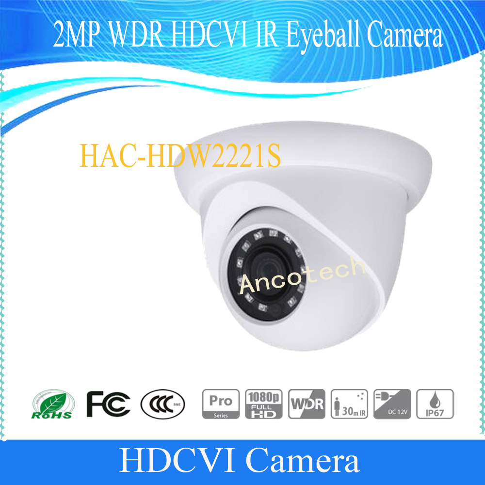 Free Shipping DAHUA CCTV Camera 2MP WDR HDCVI IR Eyeball Camera  Without Logo HAC-HDW2221S free shipping dahua cctv camera 4k 8mp wdr ir mini bullet network camera ip67 with poe without logo ipc hfw4831e se